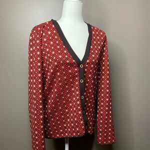 Fossil cardigan red gold circle pattern